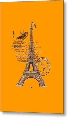 Eiffel Tower T Shirt Design Metal Print by Bellesouth Studio