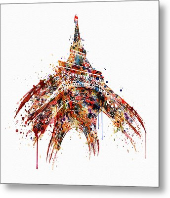 Eiffel Tower Watercolor Metal Print by Marian Voicu