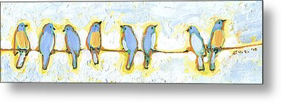 Eight Little Bluebirds Metal Print
