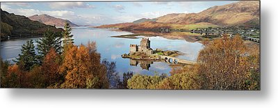 Metal Print featuring the photograph Eilean Donan Castle Panorama In Autumn by Grant Glendinning