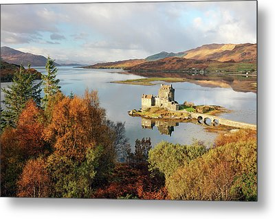 Metal Print featuring the photograph Eilean Donan Reflection In Autumn by Grant Glendinning