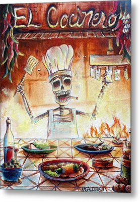 El Cocinero Metal Print by Heather Calderon