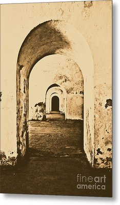 El Morro Fort Barracks Arched Doorways Vertical San Juan Puerto Rico Prints Rustic Metal Print by Shawn O'Brien