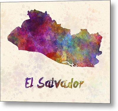 El Salvador In Watercolor Metal Print