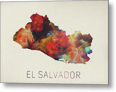 El Salvador Watercolor Map Metal Print