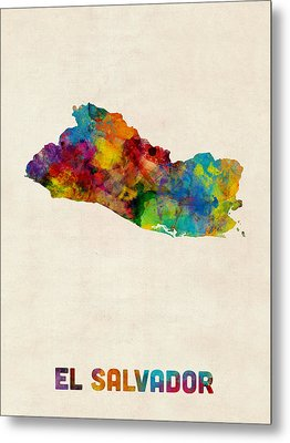 El Salvador Watercolor Map Metal Print by Michael Tompsett