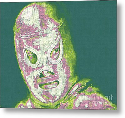 El Santo The Masked Wrestler 20130218v2m80 Metal Print by Wingsdomain Art and Photography