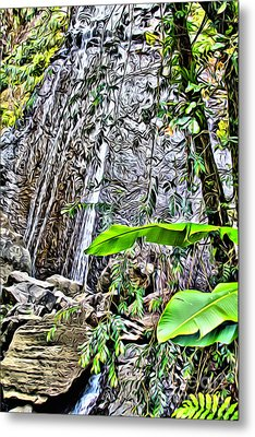 El Yuque Waterfall Metal Print by Carey Chen