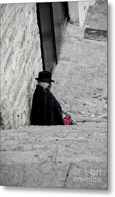 Metal Print featuring the photograph Elderly Beggar In Chordeleg by Al Bourassa