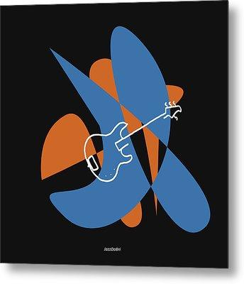 Electric Bass In Blue Metal Print by David Bridburg