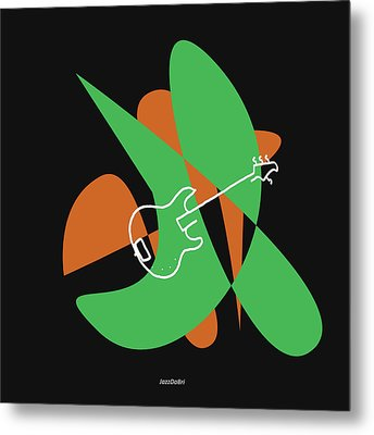 Electric Bass In Green Metal Print by David Bridburg