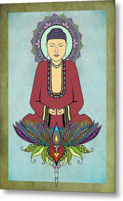 Metal Print featuring the drawing Electric Buddha by Tammy Wetzel