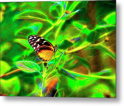 Metal Print featuring the digital art Electric Butterfly by James Steele