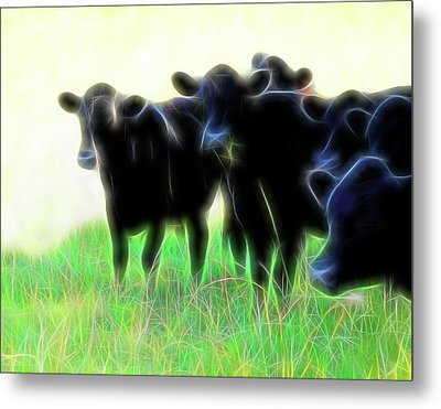 Electric Cows Metal Print by Ann Powell
