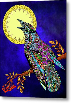 Metal Print featuring the drawing Electric Crow by Tammy Wetzel
