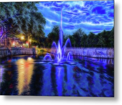 Metal Print featuring the photograph Electric Fountain  by Scott Carruthers