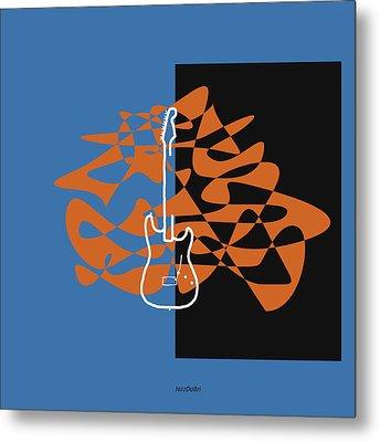 Electric Guitar In Blue Metal Print by David Bridburg