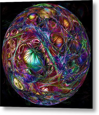 Electric Neon Abstract Metal Print