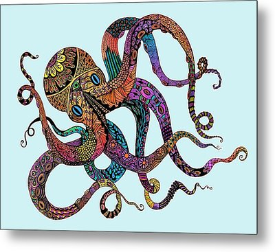 Electric Octopus - Customizable Background Metal Print by Tammy Wetzel