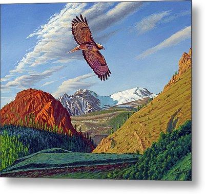 Electric Peak With Hawk Metal Print by Paul Krapf