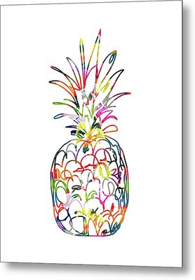 Electric Pineapple - Art By Linda Woods Metal Print by Linda Woods