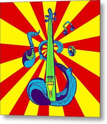 Electric Violin Pop Art Metal Print by Kenal Louis