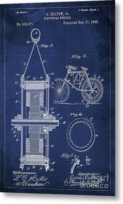 Electrical Bycicle Patent Blueprint Year 1895 Blue Vintage Decoration Metal Print by Pablo Franchi