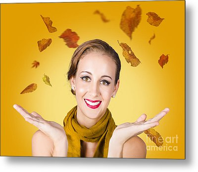 Elegant Female Model Catching Autumn Leaves Metal Print by Jorgo Photography - Wall Art Gallery