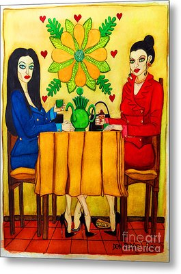 Metal Print featuring the painting Elegant Ladies In A Coffee-shop by Don Pedro De Gracia