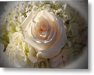Elegant White Roses Metal Print by Cynthia Guinn