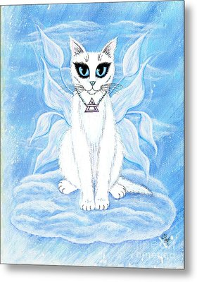 Metal Print featuring the painting Elemental Air Fairy Cat by Carrie Hawks
