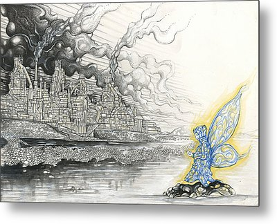Elemental Praying For The End Of Industrial Pollution Metal Print by Alma