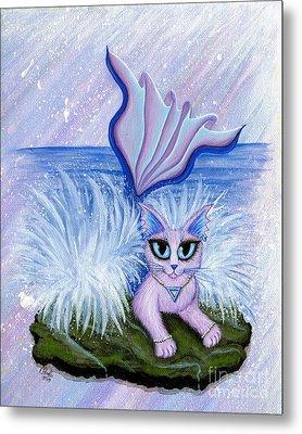 Metal Print featuring the painting Elemental Water Mermaid Cat by Carrie Hawks