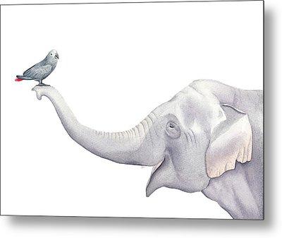 Elephant And Bird Watercolor Metal Print by Taylan Apukovska
