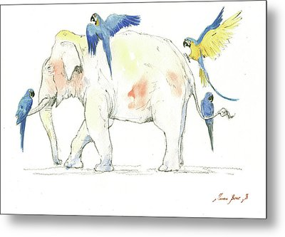 Elephant And Parrots Metal Print