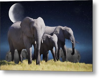 Elephant Bath Time Painting Metal Print by Ericamaxine Price