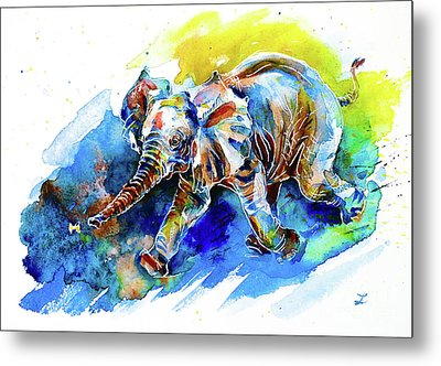 Elephant Calf Playing With Butterfly Metal Print