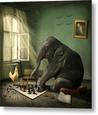 Elephant Chess Metal Print