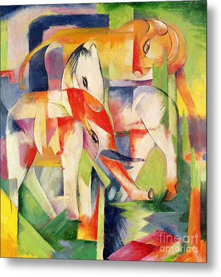 Elephant Horse And Cow Metal Print by Franz Marc