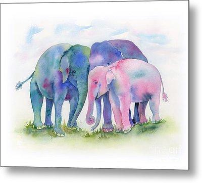 Elephant Hug Metal Print