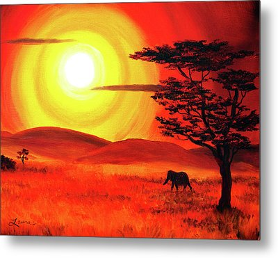 Elephant In A Bright Sunset Metal Print