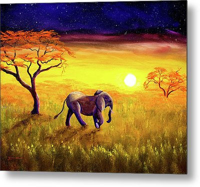 Elephant In Purple Twilight Metal Print by Laura Iverson