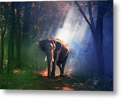 Elephant In The Heat Of The Sun Metal Print by Georgiana Romanovna