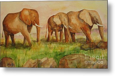 Elephant Parade Metal Print by Vicki  Housel