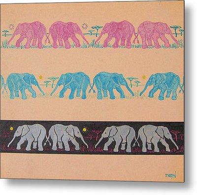 Elephant Pattern Metal Print by John Keaton