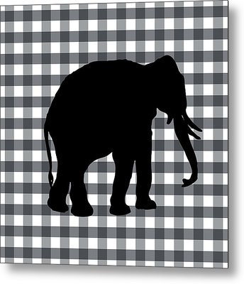 Elephant Silhouette Metal Print by Linda Woods