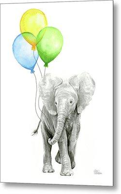 Elephant Watercolor Baby Animal Nursery Art Metal Print