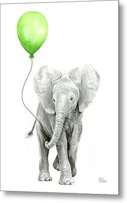 Elephant Watercolor Green Balloon Kids Room Art  Metal Print