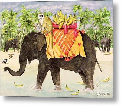 Elephants With Bananas Metal Print