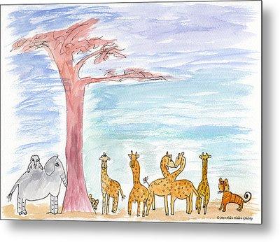 Elephoot By Baobab Tree Metal Print